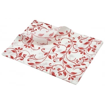 Greaseproof Paper Floral Print - 25 x 20cm -Red