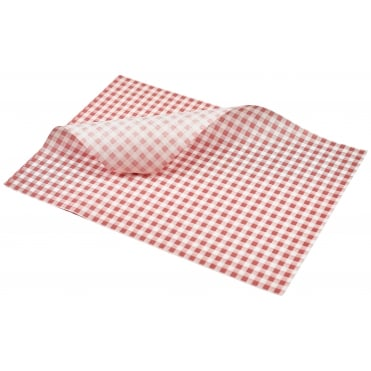 Greaseproof Paper Gingham Print - 35 x 25cm - Red