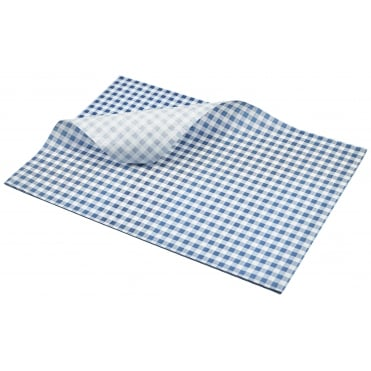 Greaseproof Paper Gingham Print - 35 x 25cm - Blue