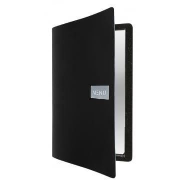 Leather Menu - Royal Black (A4 - 4 Page Facing)