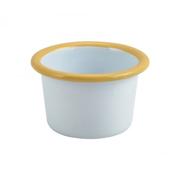 White & Yellow Enamelled Ramekin 7 x 4.3cm